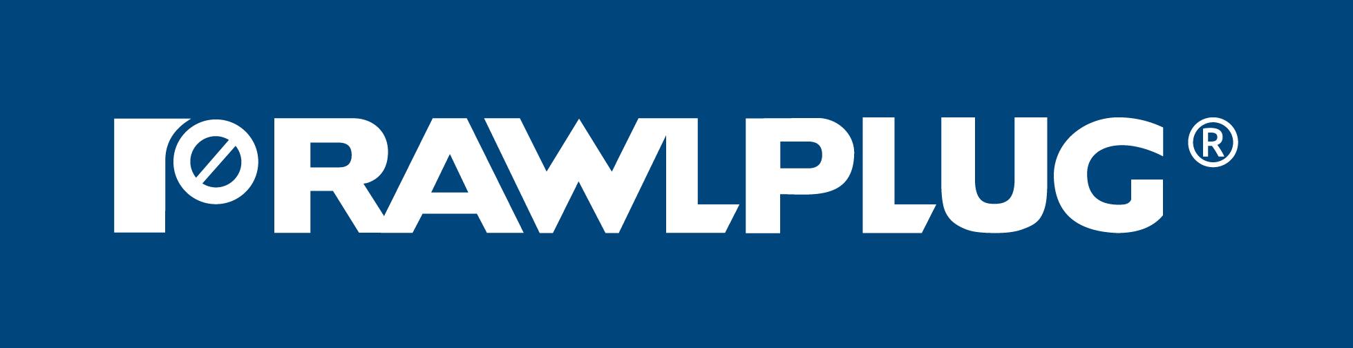 Rawlplug logo - white on blue
